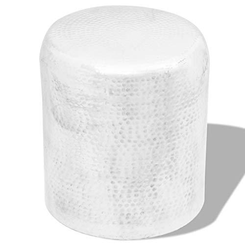 Nologo Egcsf Taburete de mesa auxiliar martillado, cilindro de aluminio plateado