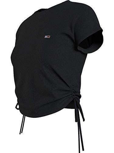 Tommy Jeans - Camiseta con lazos, color negro Negro XS