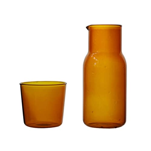 Jarra de Agua Jarra de agua Transparente Color de caramelo Color de vidrio Conjunto de taza de jugo de bebida simple resistente al calor con la botella de agua de la jarra de té Jarra de cristal
