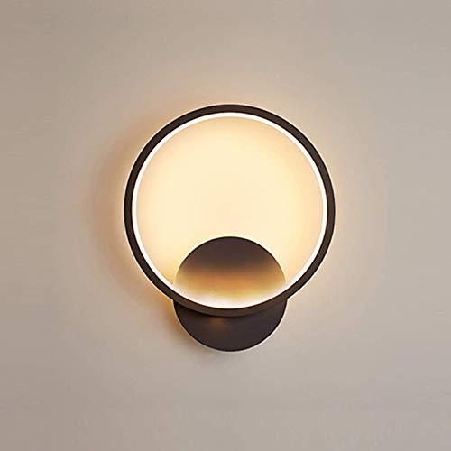Applique Murale LED Interieur 12w, Lampe Murale Rond Noire, Eclairage pour Allée Couloir Chambre Salon Escalier, 3000k 845LM Blanc Chaud 28.5*25*4CM …