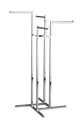 Clothing Rack – Heavy Duty Chrome 4 Way Rack, Adjustable Height Arms, Square Tubing, Perfect for Clothing Store Display With 4 Straight Arms