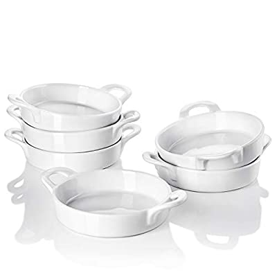 Sweese 507.001 Porcelain Ramekins, 5 Ounce Ramekins for Baking, Round Creme Brulee Dish with Double Handle-Set of 6 - White