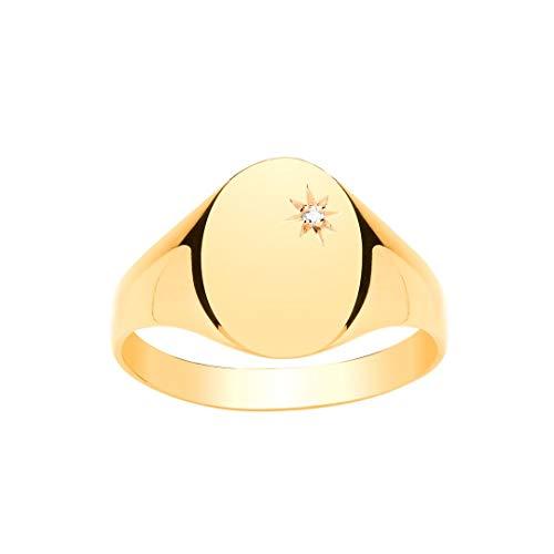 9ct Anillo de oro amarillo caballero diamante oval Signet (RY)