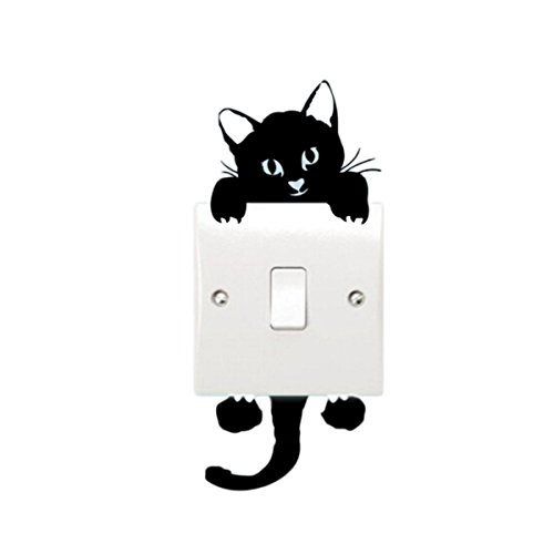 VWH Cute Cat Light Switch Stickers Funny Wall Decal Vinyl Stickers Black (Cat)