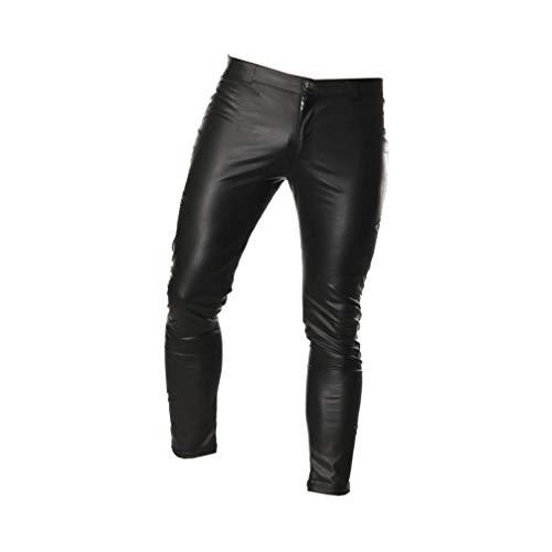 Fenical Herren Lederhosen Slim Fit dünne Lange Hosen Reißverschluss Hosen Kostüm Cosplay verkleiden Sich für Nachtclub Bühnenshow,schwarz M