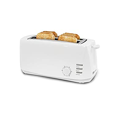 Elite Cuisine ECT-4829 Long Cool Touch Toaster with Extra Wide 1.5  Slots for Bagels and Specialty Breads, 4 Slices, White