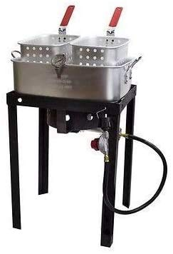 Triple 3 Basket Deep Fryer-Stainless Steel Propane Burner Cooker-Fry Oil Big 6.3 Gallon Cap