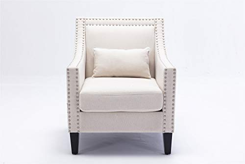 ZFRANC Accent Armchair Living Room Chair with Nailheads and Solid Wood Legs Wooden Lounge Chair Home Stool