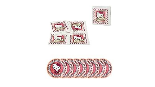 ALMACENESDAN, 0501, Pack Fiestas y cumpleaños Hello Kitty, 8 Platos 19,5 cm y Pack 20 servilletas Hello Kitty