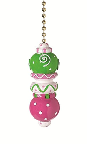 Clementine Designs Pink Green White Stack Decorative Ceiling Fan Light Pull