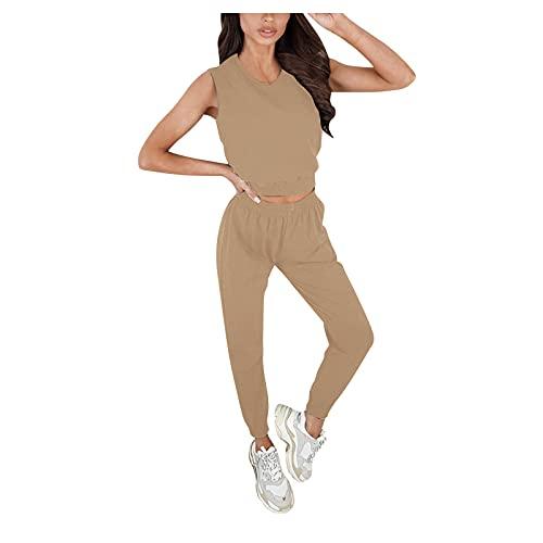 Pistaz Traje de yoga para mujer, monocolor, camiseta de cintura alta, pantalones elásticos, ropa deportiva, marrón, 44