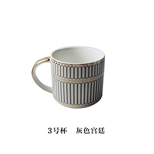 Winpavo Mugs Tasses Tasse À Café en Porcelaine Empilable Tasses À Café Blanches De 400 ML Tasses À Thé Verrerie Drinkware Cuisine Salle À Manger, G