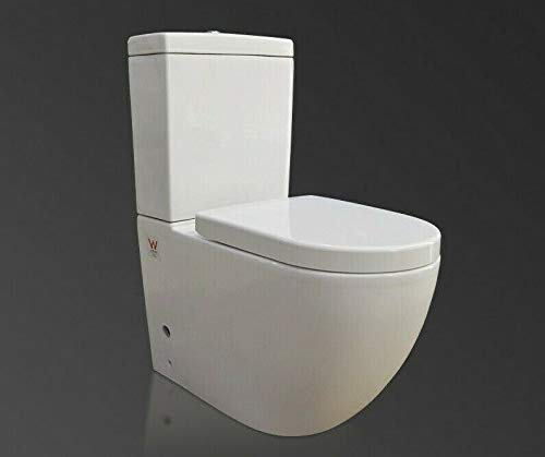 Back to Wall Toilet Close Coupled WC White Ceramic Soft Close Seat Modern Design Flush to Wall Concealed Pipe Work Tornado FLUSHWC
