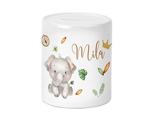 Yuweli Safari Elefant Kinder-Spardose für Jungen und Mädchen mit Namen personalisiert zur Einschulung Taufe Geburtstag Geburt Sparschwein Geldgeschenk