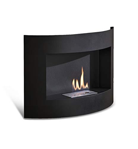 Caminetto a bioetanolo, da parete, in metallo verniciato nero, con bruciatore a doppio strato da 0,5 Litri e strumento di controllo della fiamma.
