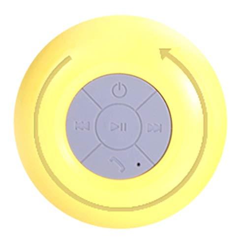 Radio para Ducha, Mini Altavoz portátil con Bluetooth, Altavoz para Ducha Resistente al Agua, Altavoces Manos Libres inalámbricos para duchas, Baño, Coche, Piscina, Playa, Carga USB (Amarillo)