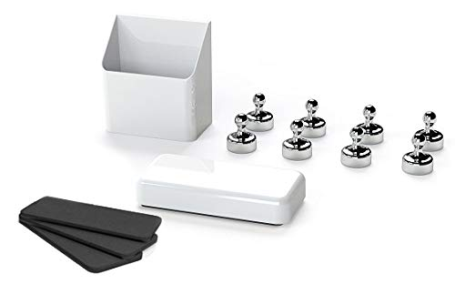 GlasMag Silver Magnetic Everclean Kit for Glass Whiteboards: Everclean Eraser + Mighty Marker Holder + 8 Chrome Pawns