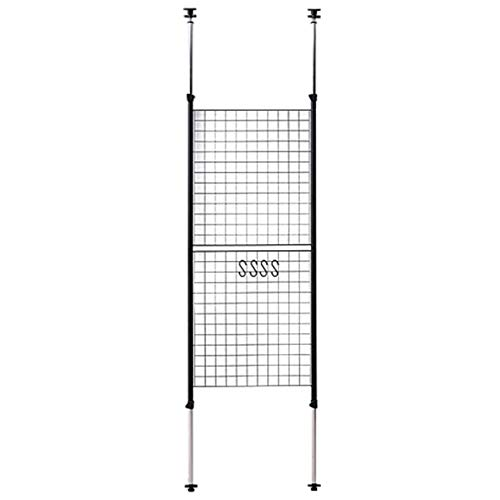 [山善] 突っ張り パーテーション 幅60cm メッシュ 高さ調節(166.5-295.5cm) フック付 アジャスター 壁面 賃貸 収納 組立品 ブラック SP-60(MBK)