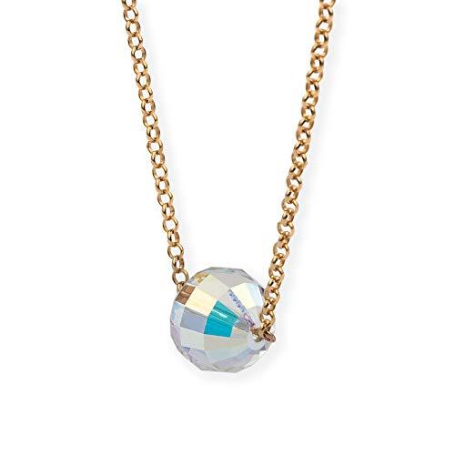 Silver & Steel Collar de Plata de Ley Bola Aurora Boreal con Cristal Swarovski (Chapado en Oro Rosa)