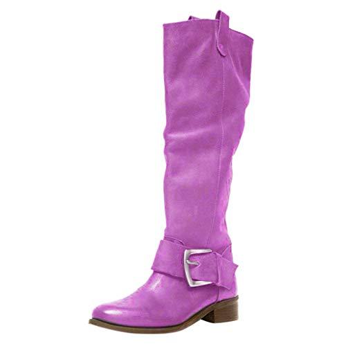 Fenverk Damen Boots Stiefeletten Chunkyrayan Flandell Schlupf Stiefelette GefüTtert Herbst Faux Leder Flach Stiefel Frauen Kurzschaft Absatz Ankle Blockabsatz Winter Schuhe(Lila,35 EU)