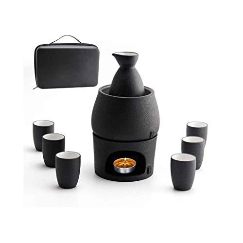 PIVFEDQX Juego De Sake Tery Japonés Y Tazas con Caja De Regalo De Almacenamiento De Sake Más Cálido 9 Piezas Incluyen 1 Estufa 1 Tazón De Calentamiento 1 Botella De Sake 6 Tazas (Vela No Incluida)
