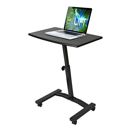 "Seville Classics 23.6"" Solid-Top Height Adjustable Mobile Laptop Desk Cart (20.5"" to 33"" H) Ergonomic Table, Black"