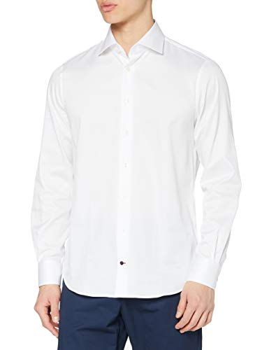 Tommy Hilfiger Core Twill Classic Shirt Camisa, Blanco (100), 38 para Hombre