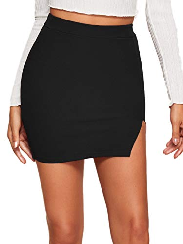 Verdusa Women's Casual Asymmetrical Slit Split Hem Bodycon Pencil Mini Black Skirt M