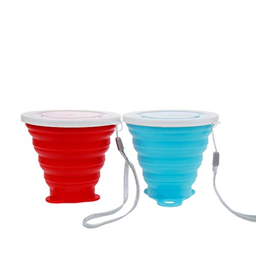 mochen Silicone Collapsible Travel Cup - Silicone Folding Camping Cup with Lids - Expandable Drinking Cup Set - BPA Free, Portable, Graduated