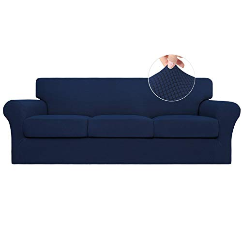EasyGoing 4 Pieces Stretch Couch Cover Sofa Cover for Dogs Washable Sofa Slipcover for 3 Separate Cushion Couch Spandex Jacquard Fabric Elastic Furniture Protector for PetsKidsNavy Sofa
