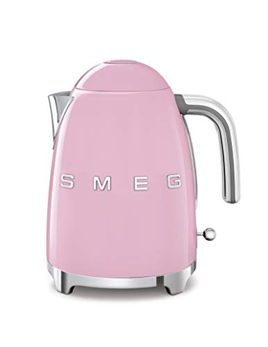 Smeg KLF03PKUS 50's Retro Style Aesthetic Electric Kettle with Embossed Logo, Pink
