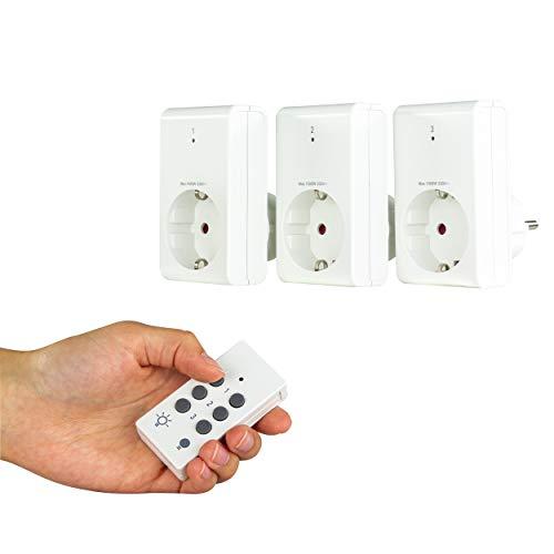 REV Ritter | Funksteckdosen-Set mit Fernbedienung | 3 Funksteckdosen + 1 Fernbedienung | Reichweite bis zu 25m (Freifeld) | Verwendung für den Innenbereich | Schaltleistung max. 1000W je Funksteckdose