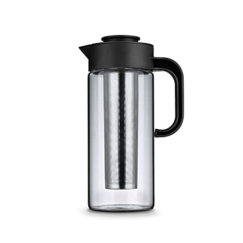 iced tea pitcher Household Glass Kettle with Dust Cover and Handle High Temperature Resistant Pitcher for Juice, Beverage, Iced Coffee, Tea. Cold Teakettle ( Capacity : 1500ml , Size : With liner )