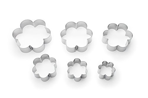 Fox Run 3621 Flower Cookie cutters, 6 piece, Metallic