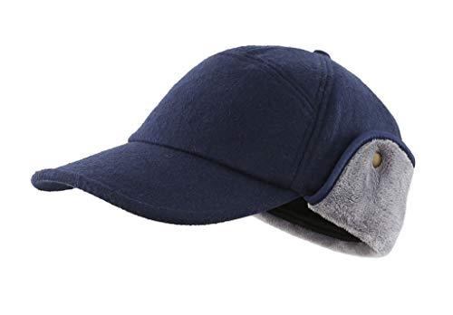 Home Prefer Winter Warm Skull Cap for Men Baseball Visor Cap Dad Hat Neck Cover Hat Navy Blue Large