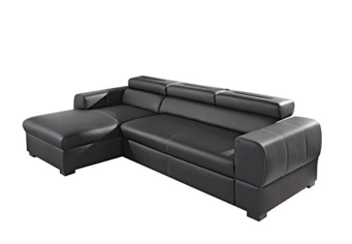 Relaxima Freedom Canapé d'Angle Gauche avec Têtière Amovible Bois Noir 266 x 160 x 90 cm