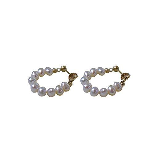 ZCPCS Sterling Silver Pendientes de Perlas de Agua Dulce Natural Mujeres Temperamento de Moda Otoño Invierno Tassel Joyería Regalo de la Novia (Gem Color : Stud Earring)