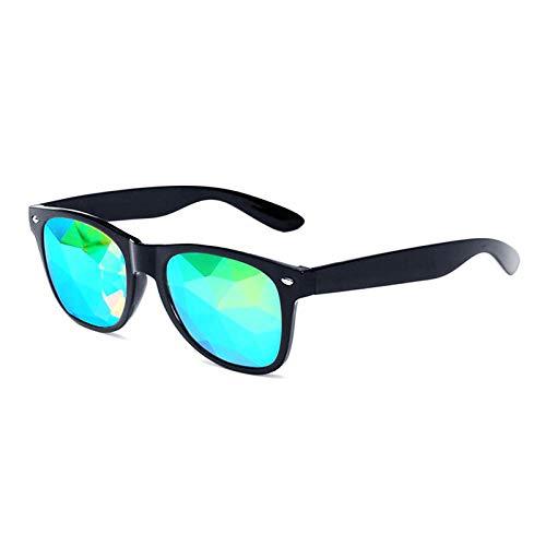 Sonnenbrille Sunglasses Brille Für Frauen Männer Rave Festival Futuristische Sonnenbrille Beugte Linse Retro Kaleidoskop Brille Top Schwarz