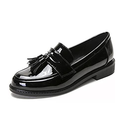 MIOKE Women's Classic Tassel Flat Penny Loafers Patent Leather Slip On Low Heel School Uniform Oxford Shoes Black