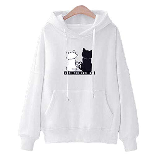 CHMROA - Sudadera de manga larga para mujer, estilo casual, con estampado de gato, cuello redondo, para mujer