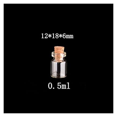 CAIFEIYU 50 PCS Mini Botellas de Vidrio con Tapones de Corcho Botellas de Almacenamiento Vacío Clear Borrar Pequeñas Viales Contenedor 0.5ml 1ml 1.5ml 2ml 2.5ml 5ml