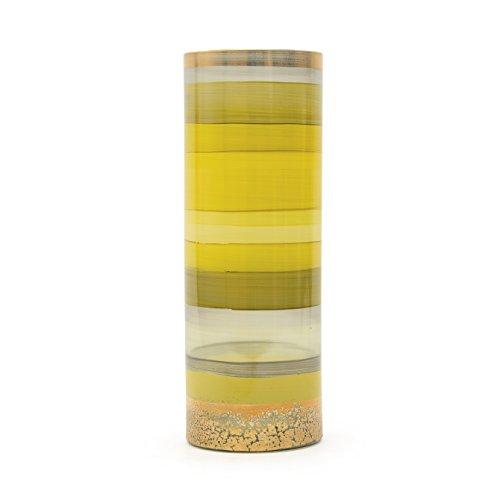Jarrón de Cristal con circonitas Forma Cilindro. Color Amarillo.