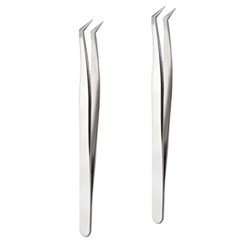 Artibetter 2 Stück Wimpernpinzette Metall Gebogene Spitze Gefälschte Wimpernverlängerung Pfropfen Pinzette Falsche Wimpern Applikationswerkzeuge