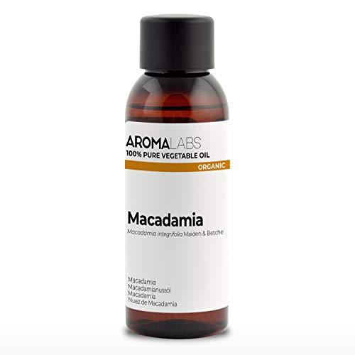 100% BIO - Huile végétale de MACADAMIA - 50mL - Garantie Pure, Naturelle, Issue de l'agriculture Biologique, Pressée à froid - Aroma Labs (Marque Française)