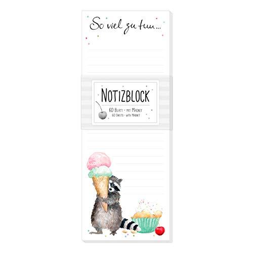 Notizblock/Notizzettel gebunden, 60 Blatt, blanko, lustig, magnetisch für Kühlschrank mit Motiv, Einkaufsliste, To-Do-Liste, witzig, bunt mit Waschbär, Eis und Muffin