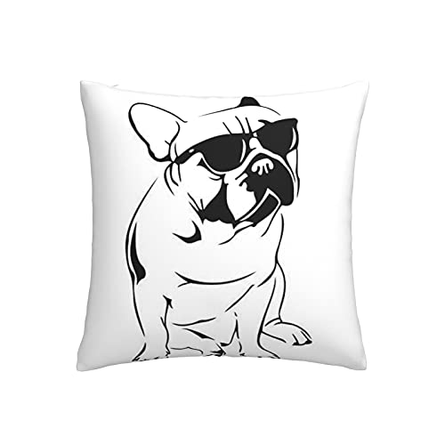 Antfeagor Frenchie French Bulldog Home Decor Throw Pillow Cover, Lightweight Soft Plush Square Decorative Pillow Case 18x18 Inch Cushion Cover Machine Washable