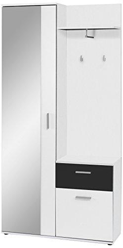 HOMEXPERTS Kompakt-Garderobe JUSTUS / Korpus in Weiß / Schubladen-Front in Schwarz / Garderobe mit großer Spiegeltür / Fest montiertes Set / Kommode / Schuh-Schrank / 97x195x30 cm (BxHxT)
