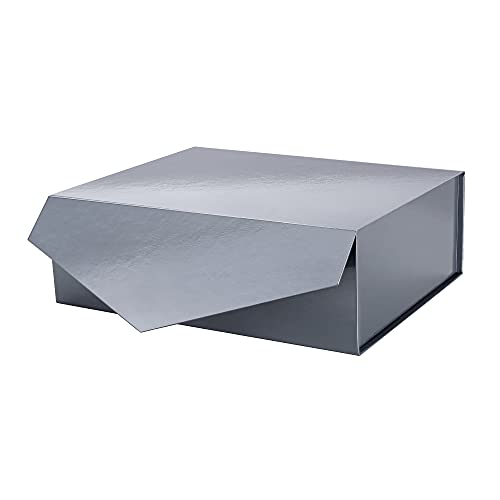 PACKHOME Gift Box 14x9.5x4.5 Inches  Large Gift Box with Lid  Bridesmaid Proposal Box  Christmas Gift Box  Collapsible Gift Box with Magnetic Closure (Glossy Blue Gray)