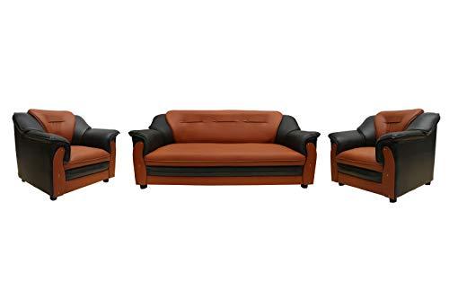 Sekar Lifestyle 3+1+1 Dual Tone Polyurethane Sofa Set for Living Room [Colour - Black & Orange] (Medium)