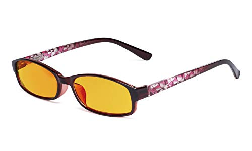 Eyekepper Small Lens Blue Light Blocking Glasses Women - Anti UV Ray Cut Digital Screen Glare Computer Eyeglasses with Amber Tinted Filter Lens and Pattern Design - Red